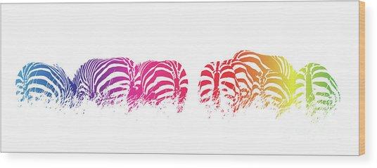 Rainbow Zebras Wood Print