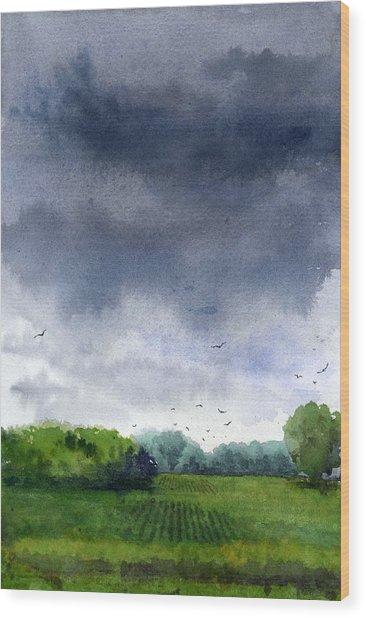 Rains Coming Wood Print