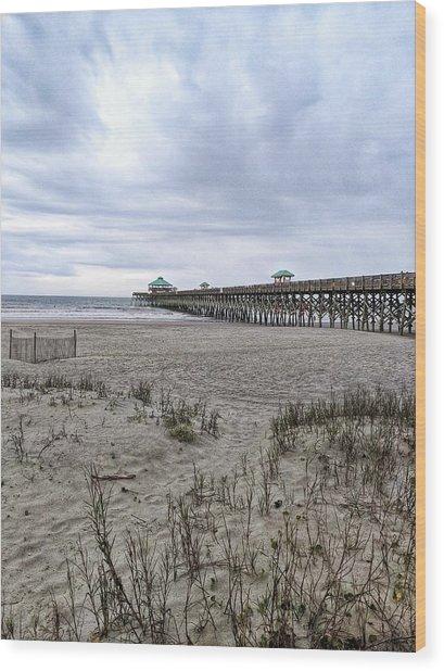 Rainy Beach Day Wood Print