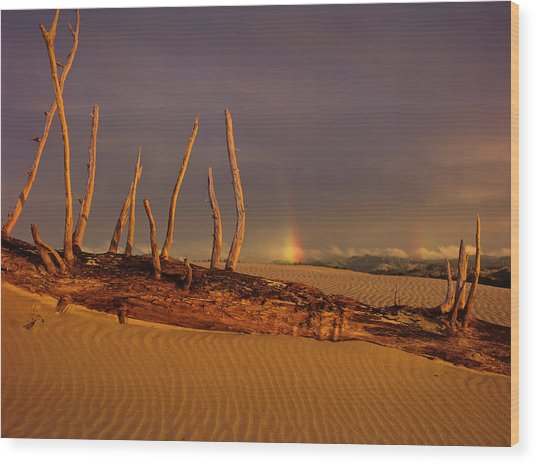 Rainy Day Dunes Wood Print