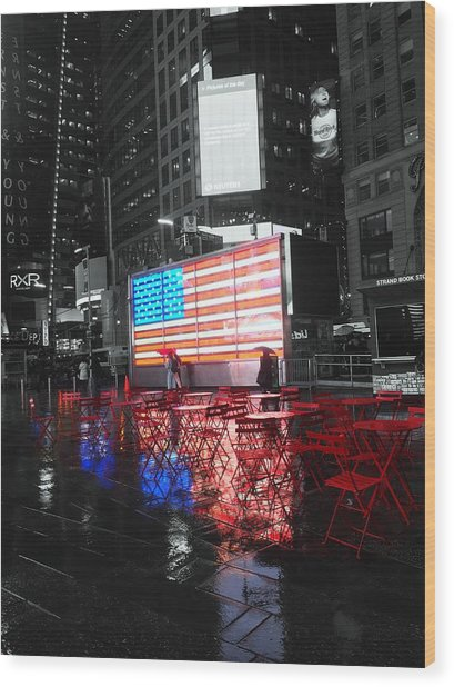 Rainy Days In Time Square  Wood Print