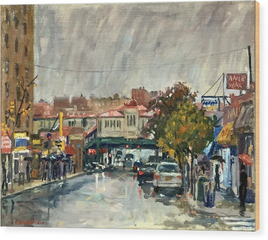 Rainy Morning 231st Street The Bronx Wood Print