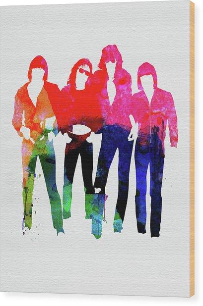 Ramones Watercolor Wood Print