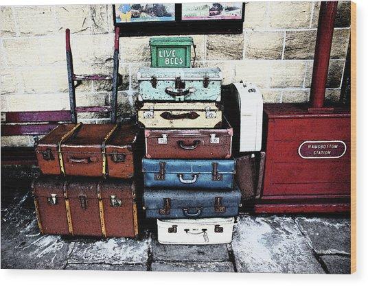 Ramsbottom.  Elr Railway Suitcases On The Platform. Wood Print