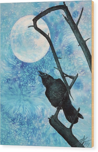 Raven With Torrey Pine Branch And Cold Moon Wood Print by Robin Street-Morris