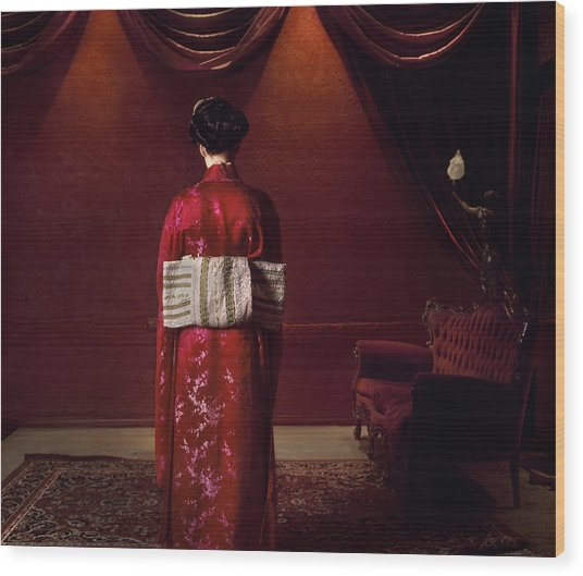 Rear View Of Woman In Traditional Wood Print