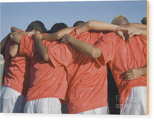 Rear View Of Young Soccer Players Wood Print by Sirtravelalot