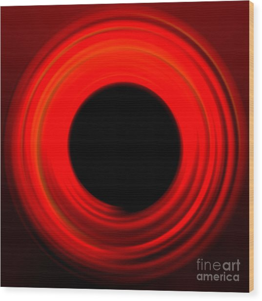 Red Abstract Circle Wood Print