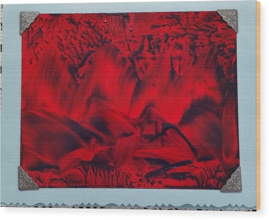Red And Black Encaustic Abstract Wood Print
