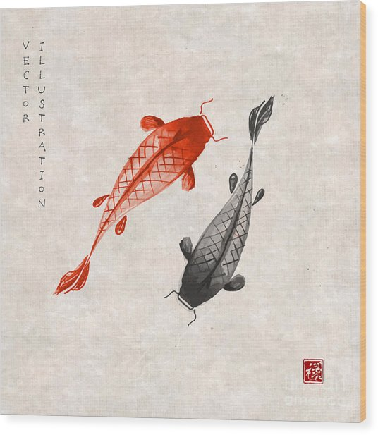 Red And Black Koi Carps Hand Drawn With Wood Print
