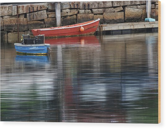 Red And Blue Row Boats On Rainy Day Wood Print by Adam Jones