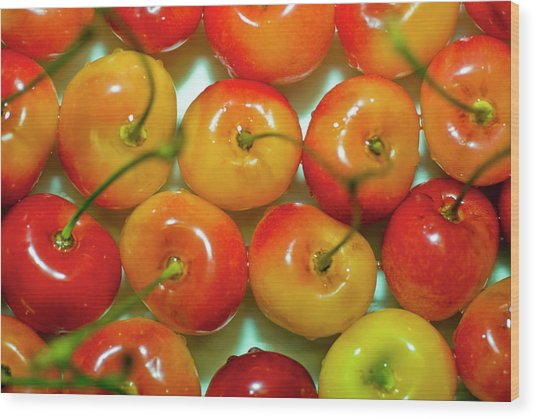 Red And Yellow Cherries On A Plate Wood Print by By Ken Ilio