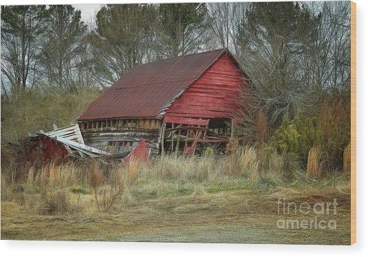 Red Barn Wood Print by Elijah Knight