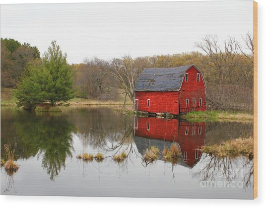 Red Barn Reflections Wood Print