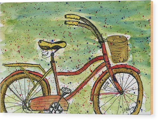 Red Bicycle Yellow Seat Wood Print