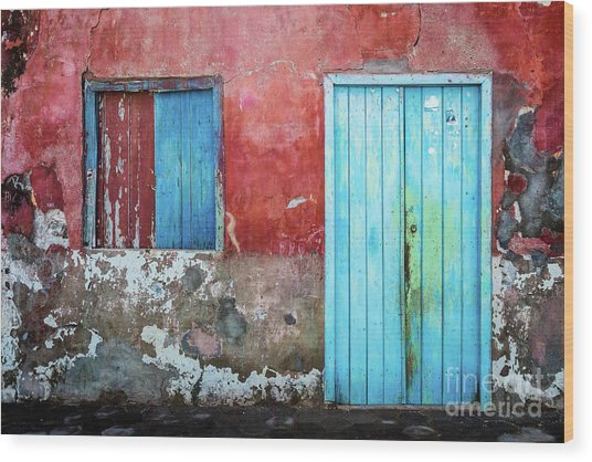 Red, Blue And Grey Wall, Door And Window Wood Print
