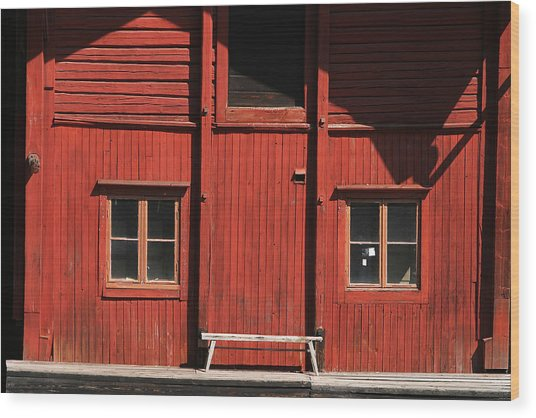 Red Building Wood Print