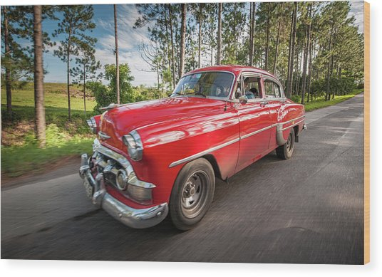 Red Classic Cuban Car Wood Print
