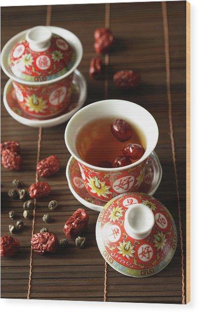Red Dates Jasmine Tea Wood Print