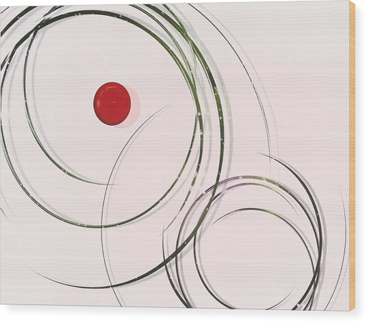 Red  Dot Within Circles Wood Print