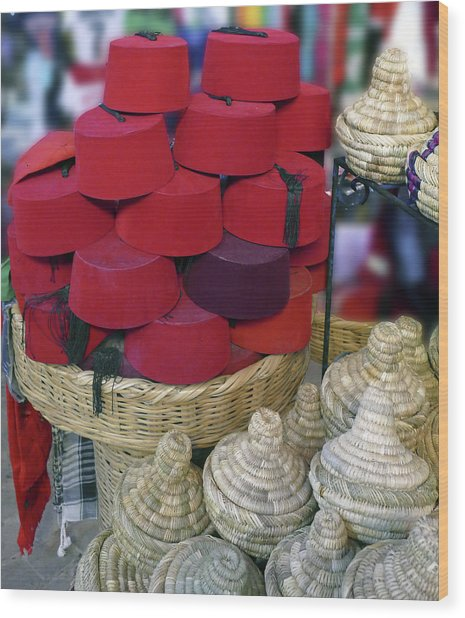Red Fez Tarbouche And White Wicker Tagine Cookers Wood Print