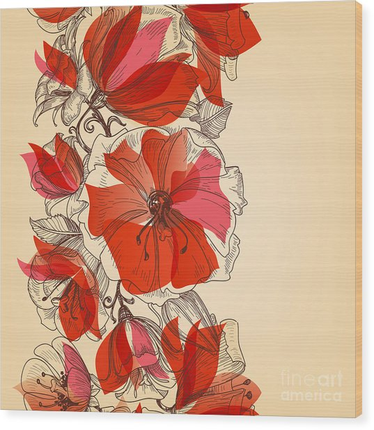 Red Flowers Seamless Pattern In Retro Wood Print