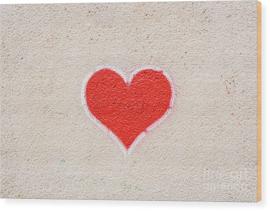 Red Heart Painted On A Wall, Message Of Love. Wood Print