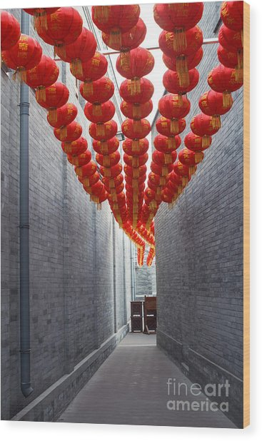 Red Lantern In The Alley,beijing Wood Print