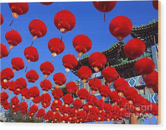Red Lanterns Are Used As Decoration For Wood Print