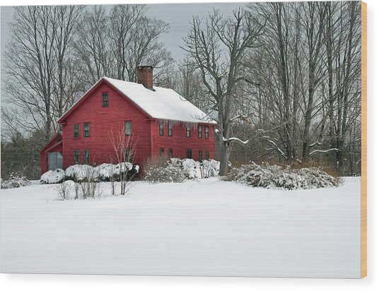 Red New England Colonial In Winter Wood Print