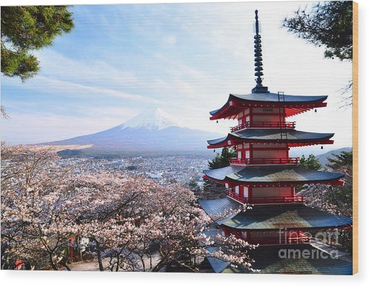 Red Pagoda With Mt. Fuji As The Wood Print