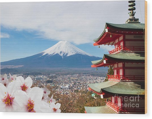 Red Pagoda With Mt Fuji Background And Wood Print by Tnshutter