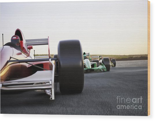 Red Race Car Close Up Front View On A Wood Print