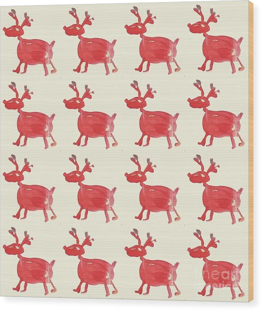 Red Reindeer Pattern Wood Print