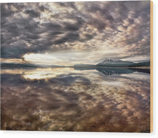 Red Rock Lake Sunrise Wood Print by Leland D Howard