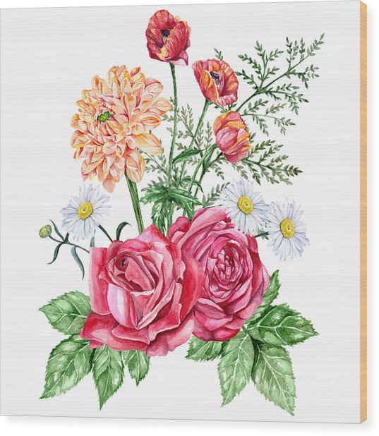 Red Roses, Orange Dahlias, Poppies And Wood Print