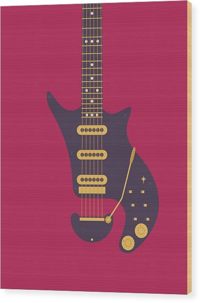 Red Special Guitar - Burgundy Wood Print