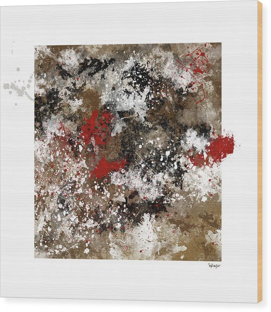 Red Splashes Wood Print