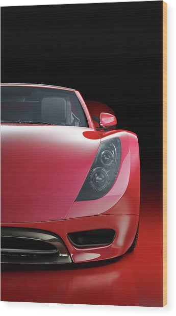 Red Sports Car Wood Print by Mevans