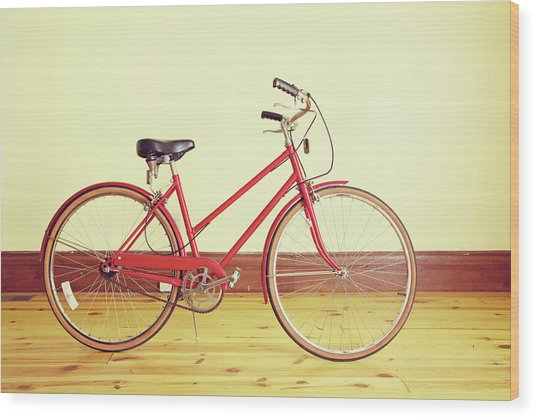 Red Vintage Retro Bicycle Abstract Wood Print by Eyecrave