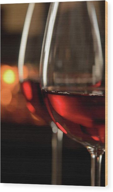 Red Wine By The Fire Wood Print by Nightanddayimages