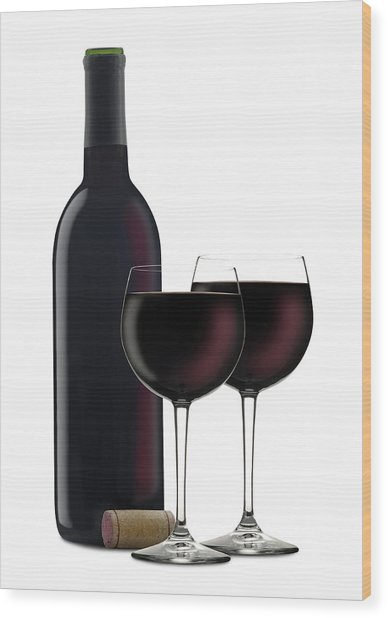 Red Wine II Wood Print by Pixhook