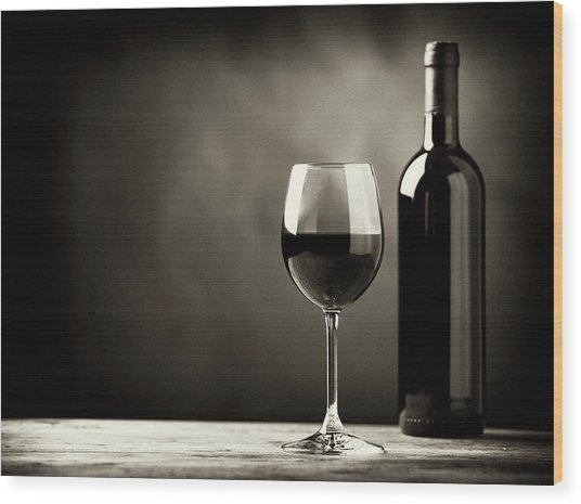 Red Wine Wood Print by Kaisersosa67