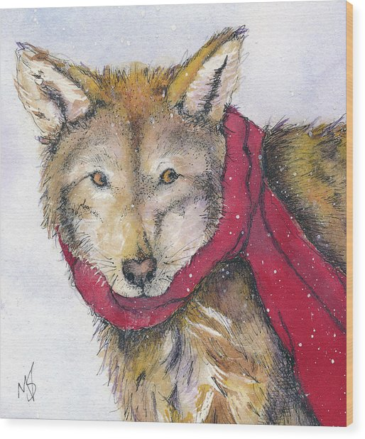 Red Wolf And Scarf Wood Print