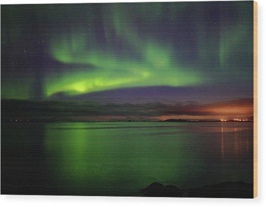 Reflected Aurora Wood Print