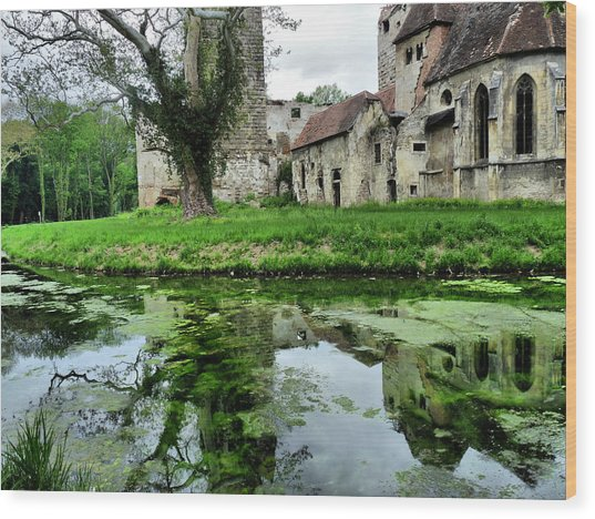 Reflection Of An Ancient Castle Wood Print