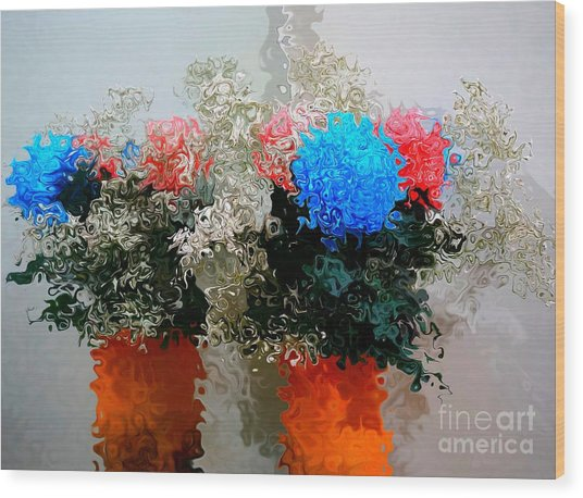 Reflection Of Flowers In The Mirror In Van Gogh Style Wood Print