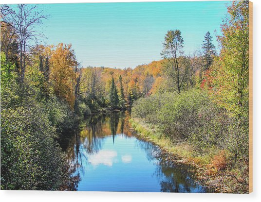 Reflections Of Fall In Wisconsin Wood Print