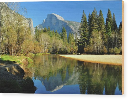 Reflections Of Half Dome Wood Print