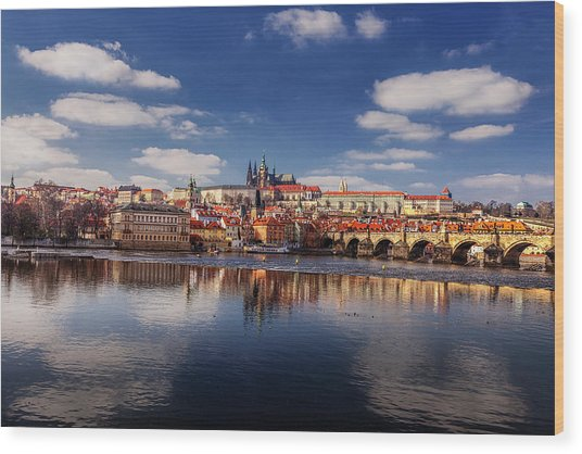 Reflections Of Prague Wood Print by Andrew Soundarajan